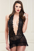Deep-v lace chemise & g-string set, s/m