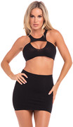 Be seen 2pc skirt set black, os