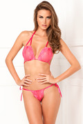 2PC Lace tie-up bra & thong set